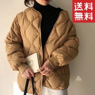 新品♪韓国ファッション♪中綿キルティングコート ダウン アウター ベージュ(ダウンコート)