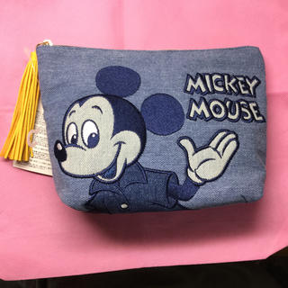 ディズニー(Disney)のミッキー デニム ポーチ ディズニー レトロ(ポーチ)