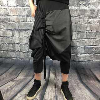 サルエルパンツ メンズ S〜2XL 黒重ね ワイド ガチョウパンツ AM002(サルエルパンツ)