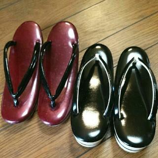 草履 2足セット 光沢黒色 光沢赤色 松菱マカラヌヤ(下駄/草履)