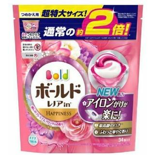ピーアンドジー(P&G)のボールド ジェルボール3D プレミアムブロッサム 詰替え 2倍 34コ入り 1袋(洗剤/柔軟剤)