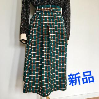 ローズバッド(ROSE BUD)の新品★ROSEBUD レトロスカート☆ヴィンテージ 柄 リボン付き スカート(ひざ丈スカート)