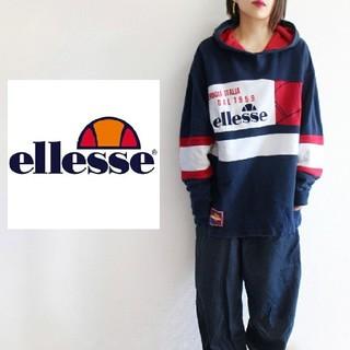 エレッセ(ellesse)の【希少】90s ellesse BIGロゴ刺繍 BIGシルエット パーカー(パーカー)
