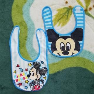 ディズニー(Disney)のミッキー ベビースタイ 2枚セット(ベビースタイ/よだれかけ)