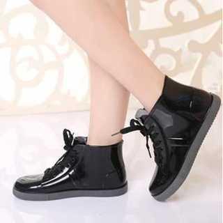 「送無」レインシューズ 黒 長靴 ショート ブーツ 23.5 大人かわいい(レインブーツ/長靴)