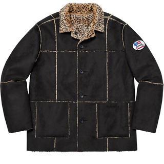 シュプリーム(Supreme)のsupreme reversible faux suede leopard 黒(フライトジャケット)