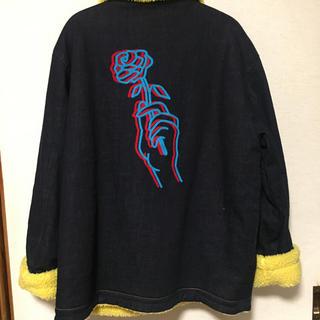 アールディーズ(aldies)のALDIES Rose Denim Boa Jacket サイズL(Gジャン/デニムジャケット)