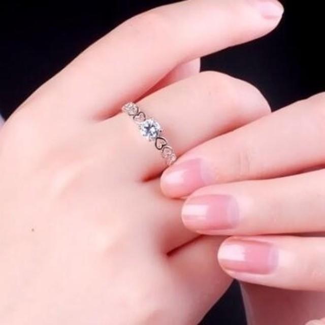 ※即日発送☞婚約指輪ギフト♥ハ―ト※金属アレ対応リング★指輪シルバー925 レディースのアクセサリー(リング(指輪))の商品写真