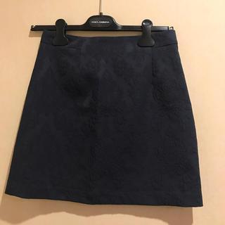 ザラ(ZARA)のZARA*ネイビー 刺繍入り台形スカート(ミニスカート)