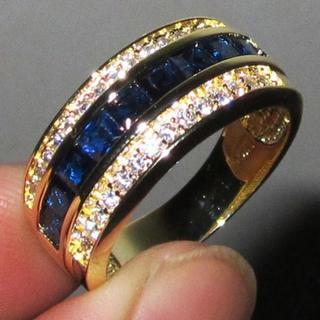 指輪 23号 ゴールド×ブルー ストーンリング 新品 メンズ(リング(指輪))