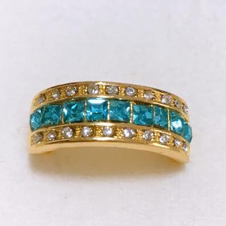 指輪 28号 クリアブルー×ゴールドカラー ストーンリング 新品 メンズ(リング(指輪))