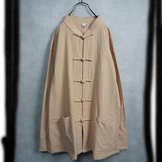 チャイナ シャツジャケット ベージュ(ノーカラージャケット)
