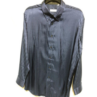 シルクのようなシャツ◎ ロングシャツ ネイビー