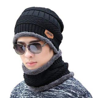 あったか ニット帽 ネックウォーマー セット メンズ ボア 裏起毛 太編み 防寒(ニット帽/ビーニー)