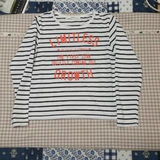 シマムラ(しまむら)の長袖Tシャツ140センチ 白と黒のボーダー(Tシャツ/カットソー)