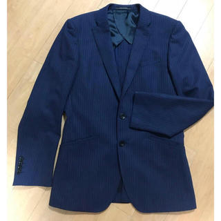 スーツ ジャケット 美品 黒 ネイビー 紺 ストライプ チェック  パーフェクト(スーツジャケット)