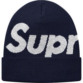 シュプリーム(Supreme)のsupreme Big logo beanie Reflective navy(ニット帽/ビーニー)