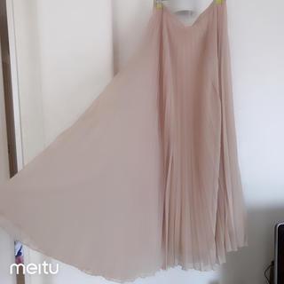 ザラ(ZARA)のザラ ピンクベージュ プリーツマキシスカート (ロングスカート)