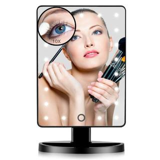 卓上ミラーLEDライト付き 明るさ調節可能 10倍の拡大鏡付き(卓上ミラー)