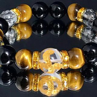 c3*大玉/14mm蛇金彫水晶*12mmタイガーアイ*ブラッククラック水晶*(ブレスレット)