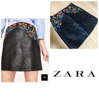 ザラ(ZARA)のZARA♡合皮レザー刺繍スカート(ミニスカート)