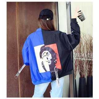 かわいい ピエロ柄 ブルゾン ジャケット オーバーサイズ ブラック×ブルー(カットソー(長袖/七分))