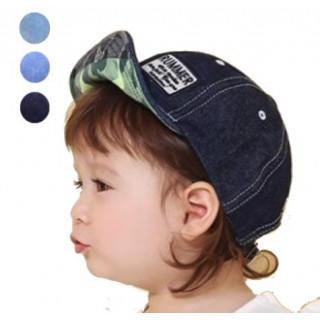 ネイビー サイズ調整可能 デニム 迷彩 キャップ 帽子 キッズ 子供 UV対策(帽子)
