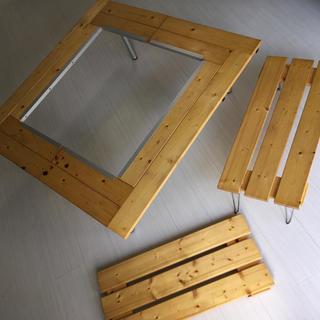 ハンドメイド 多機能 アウトドア 折りたたみテーブルセット 収納ケース付き(テーブル/チェア)
