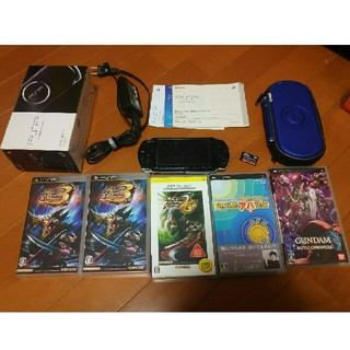 プレイステーションポータブル(PlayStation Portable)のPSP 3000 ブラック 本体 ソフト5本付き(携帯用ゲーム本体)