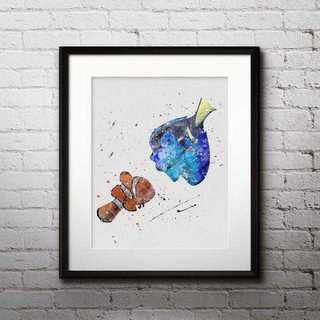 ディズニー(Disney)のニモ&ドリー(ファインディングニモ)アートポスター【額縁つき・送料無料!】(ポスター)