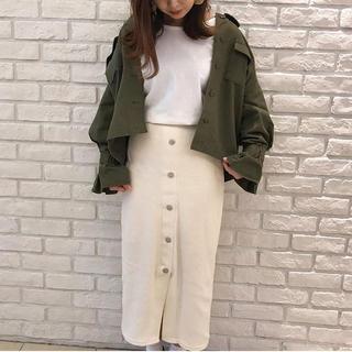 ジーユー(GU)の【新品タグ付】GU リブフロントボタンナローミディスカート XS(ロングスカート)