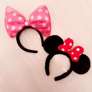 ディズニー(Disney)のミニーカチューシャ2点セット/美品です🐭🎀✨(カチューシャ)