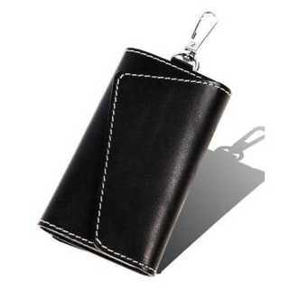 牛革 ハンドメイドキーケース 6連 カラビナ付き  メンズ 本革 (ブラック)(キーケース)