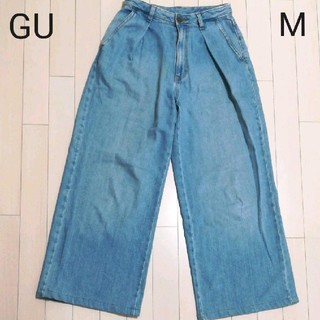 ジーユー(GU)の【W41】GU デニム ワイドパンツ*M*(デニム/ジーンズ)