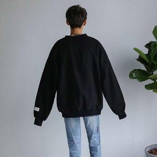 韓国ストリート⭐️裏起毛 メンズ トレーナー  無地 モード系 Black 黒(パーカー)