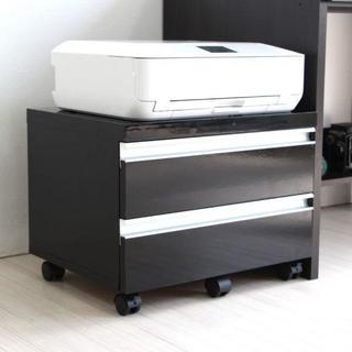 高品質家具 プリンターワゴン 鏡面 ブラック (電話台/ファックス台)