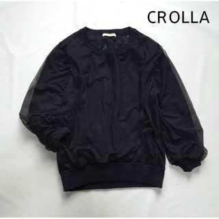 クローラ(CROLLA)のクローラ CROLLA★シルク混 シフォンニットソー レース ネイビー ブラウス(ニット/セーター)