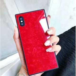 iphoneケース レッド スクエア ガラスシェル 耐久性 光沢 耐衝撃 保護(iPhoneケース)