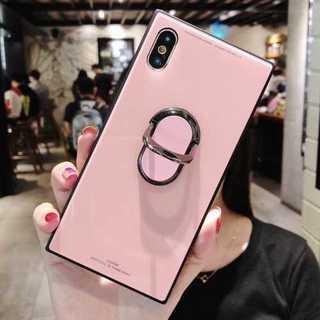 iPhone7 iPhone8 ピンク ケース リング付き スクエアガラスケース(iPhoneケース)