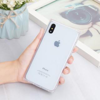 iphoneケース シェルケース スクエア 透明 無地 ソフトシェル ホワイト(iPhoneケース)
