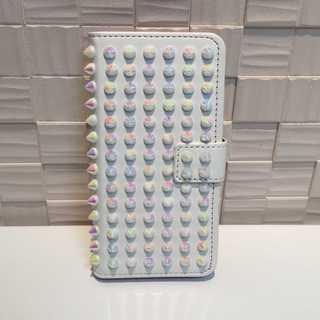 白2色 スタッズ 手帳型ケース iPhone6s/7/8/Plus/X★(iPhoneケース)