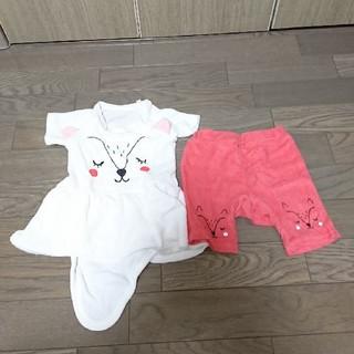 アカチャンホンポ(アカチャンホンポ)の子供服 女の子 半袖ロンパース パンツ付き 70cm(ロンパース)