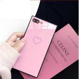 iphone ケース ピンク ハート柄 スクエア シンプル 光沢 鏡面 可愛い(iPhoneケース)