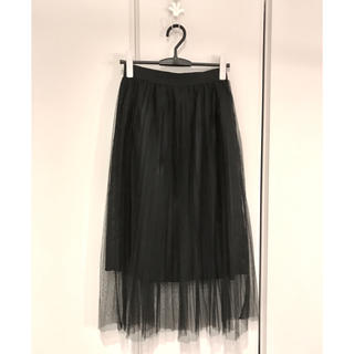 ザラ(ZARA)のZARA チュール プリーツ スカート 黒(その他)