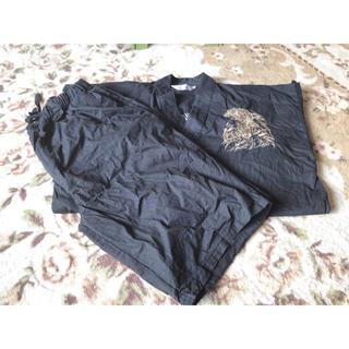 メンズ 甚平(ブラック)(浴衣)