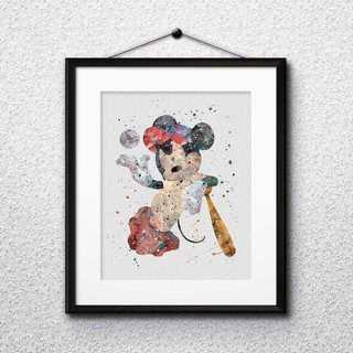 ディズニー(Disney)の日本未発売!ミッキーマウス(野球)アートポスター【額縁つき・送料無料!】(ポスター)