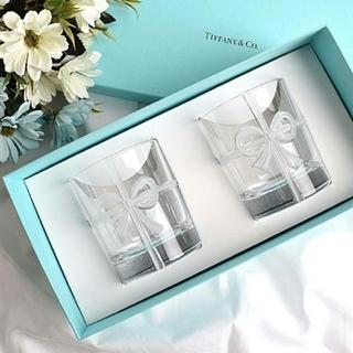 【TIFFANY&CO.】ティファニーボウグラスリボンペア2個セット食器 新品