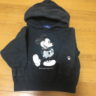 ディズニー(Disney)のキッズ 100 ミッキー黒パーカートレーナー(Tシャツ/カットソー)