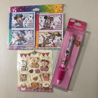 ディズニー(Disney)の【新品.タグ付き】♡ディズニー♡ミッキーの桜ボールペン&メモ帳&ダッフィーシール(キャラクターグッズ)