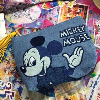 ディズニー(Disney)のミッキー デニム ポーチ フリンジ付き インディゴ染め ディズニー 小物入れ(ポーチ)